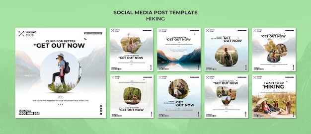 Modello di post di social media concetto di escursionismo