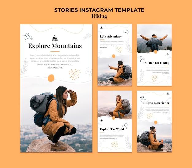 Modello di storie di instagram di escursionismo