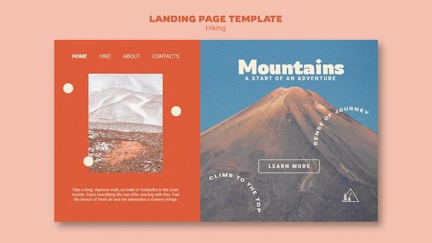 Modello di pagina di destinazione per escursionismo con foto