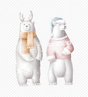 Illustrazione disegnata a mano di orsi polari di vacanza