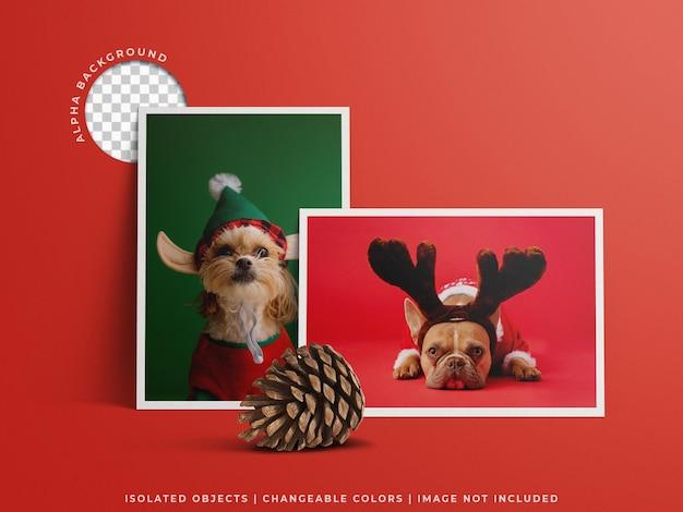 Cartolina d'auguri di natale con foto di cornice di auguri post vacanza con decorazione isolata