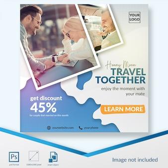 Vacanza viaggiando insieme modello di media sociali post