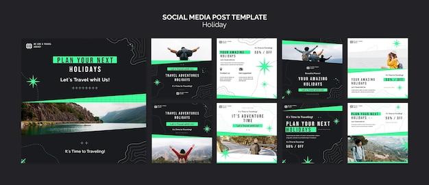 Modello di post sui social media per le vacanze con foto