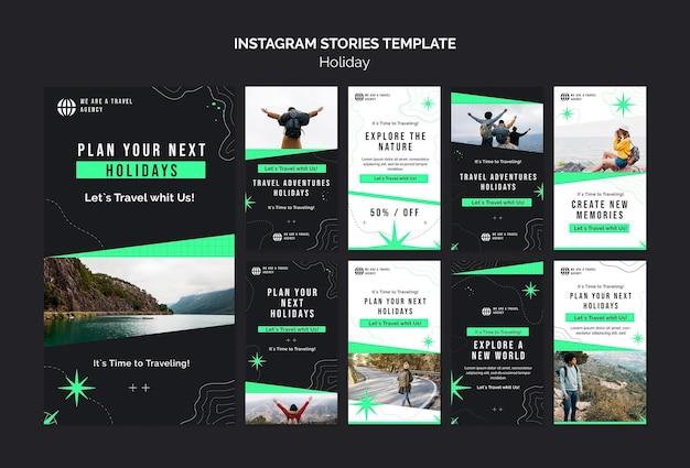 Modello di storie di social media per le vacanze con foto