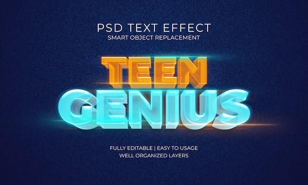 Hologram teen genius effetto testo
