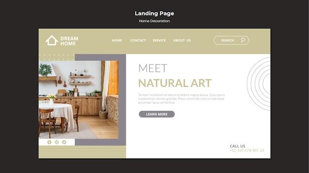 Modello di pagina di destinazione per la decorazione della casa con foto