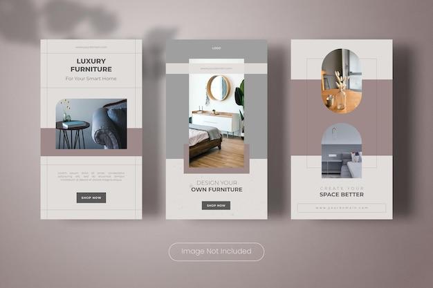Collezione di banner modello di storie di instagram di interior design per la casa
