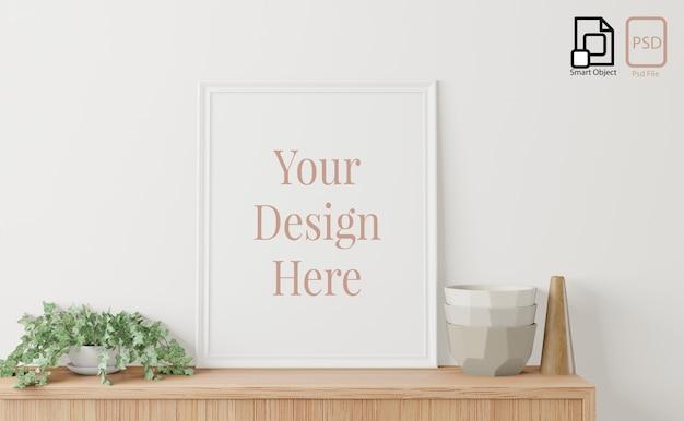 Poster interno casa mock up con cornice sulla credenza e sfondo bianco muro. rendering 3d.