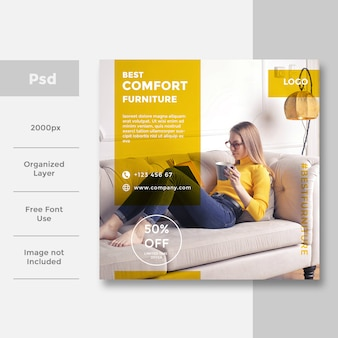 Interior design per social media banner pubblicitario