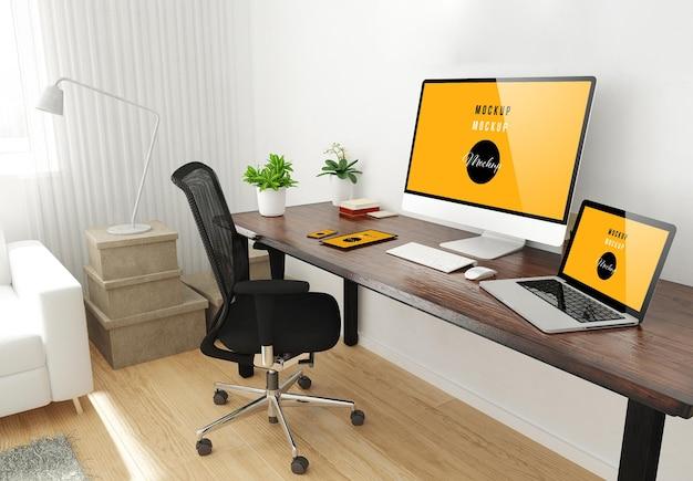 Il desktop dell'ufficio domestico ha installato il rendering 3d