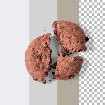 Biscotto di pepita di cioccolato casalingo isolato.