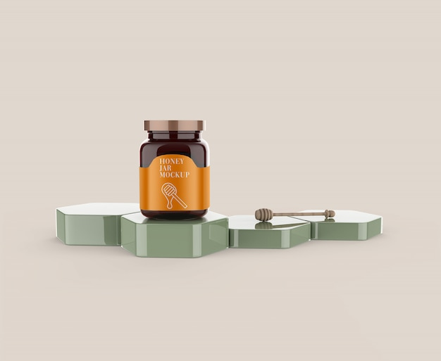 Honey glass jar con dipper mockup
