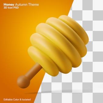 Miele di legno merlo acquaiolo utensile 3d illustrazione rendering icona modificabile isolato