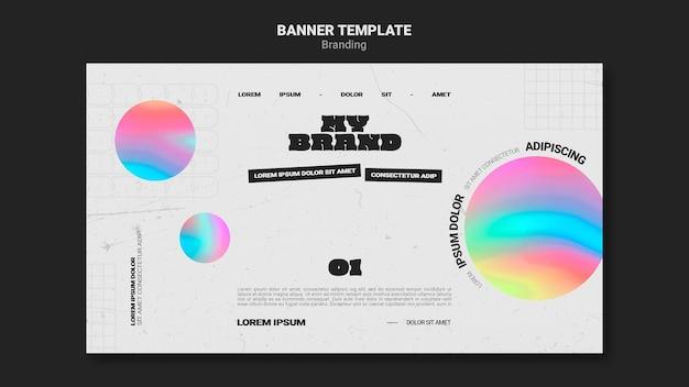Banner orizzontale per il marchio aziendale con forma di cerchio colorato