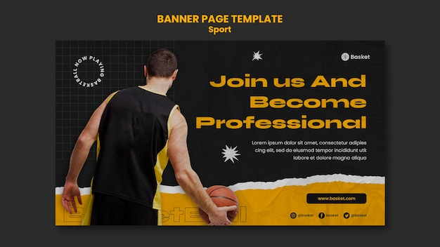 Modello di banner orizzontale per partita di basket con giocatore maschio