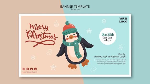 Modello di banner orizzontale per natale con il pinguino