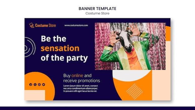 Modello di banner orizzontale per costumi di halloween
