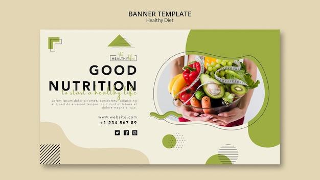 Modello di banner orizzontale per una sana alimentazione