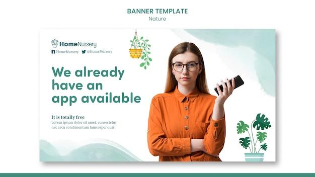 Modello di banner orizzontale per la cura delle piante d'appartamento con la donna
