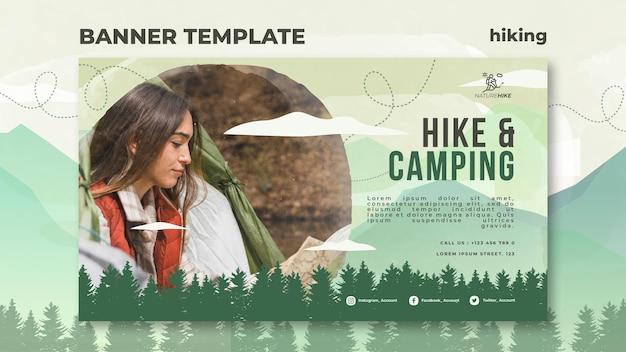 Modello di banner orizzontale per escursioni nella natura