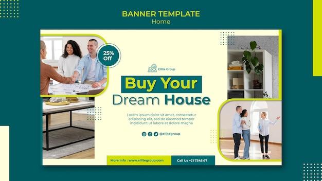 Modello di banner orizzontale per nuova casa di famiglia