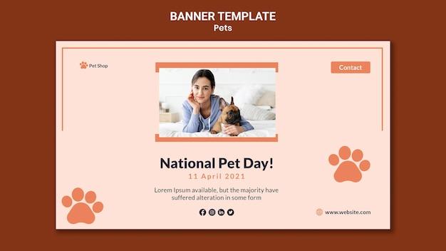 Modello di banner orizzontale per l'adozione di animali domestici