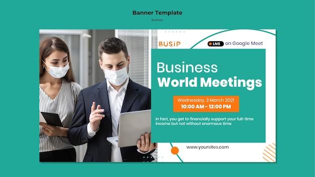 Modello di banner orizzontale per webinar e avvio aziendale