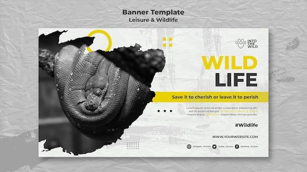 Modello di banner orizzontale per la protezione della fauna selvatica e dell'ambiente