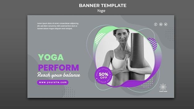 Modello di banner orizzontale per lezioni di yoga