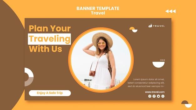 Banner orizzontale per viaggiare con la donna