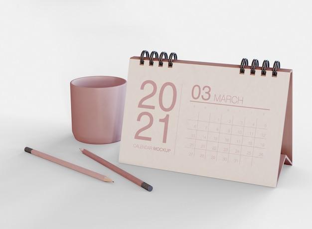 Mockup di calendario orizzontale