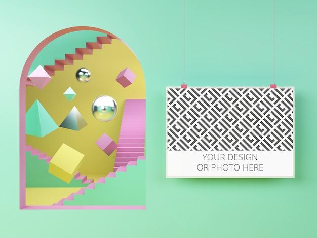 Poster orizzontale in un mockup di scena geometrica