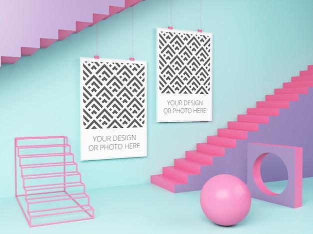 Poster orizzontali in un mockup di scena geometrica