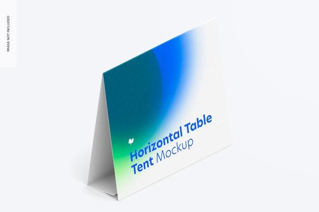 Mockup di carta tenda da tavolo orizzontale, vista isometrica a destra