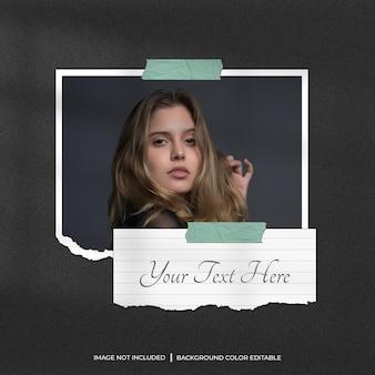 Modello di foto con cornice di carta strappata orizzontale con carta per appunti e ombra