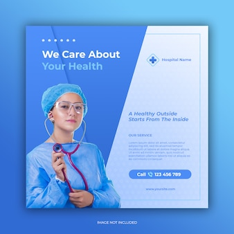 Banner di ospedale per modello di post di social media