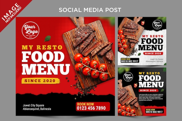 Elemento caldo menu social media post template