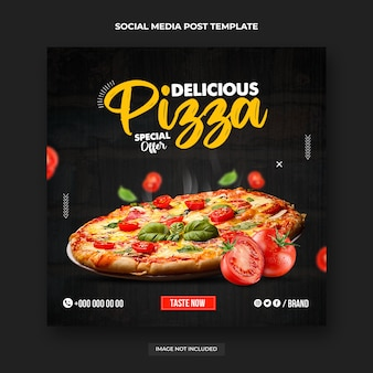 Post sui social media di pizza calda