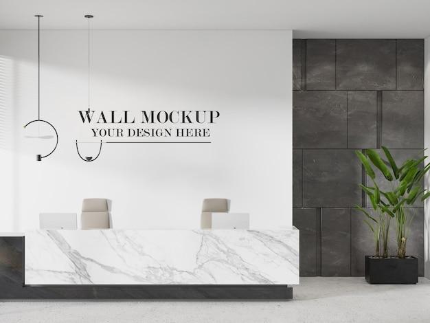 Mockup della parete della reception dell'hotel