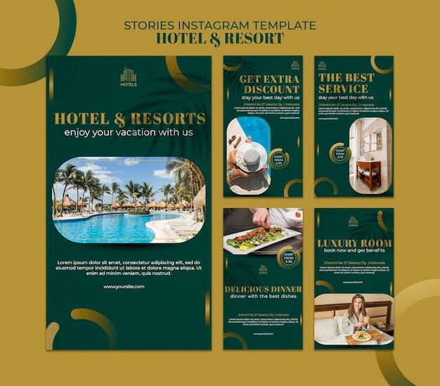 Modello di storie di instagram di concetto di hotel e resort