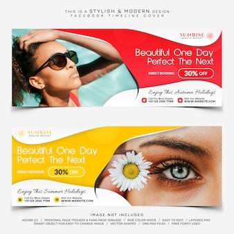 Banner di copertina facebook per hotel o resort