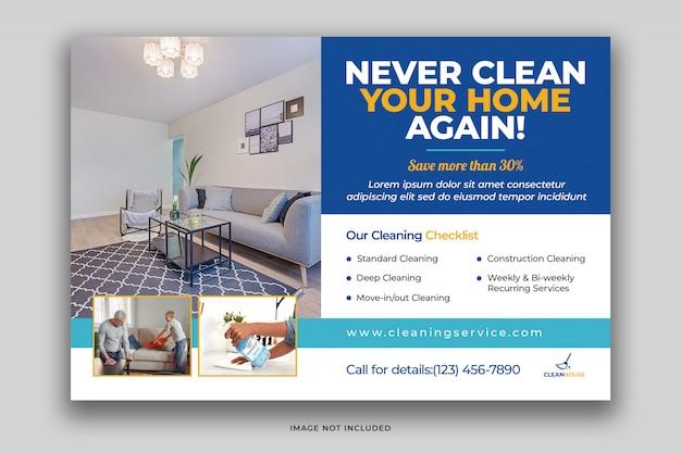Modello di volantino cartolina servizi di pulizia della casa con prodotti per la pulizia eco psd premium psd