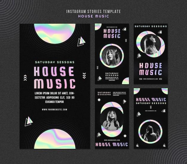 Modello di storie di instagram di musica house