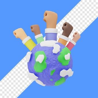 Giornata dei diritti umani con la terra e il gesto della mano nell'illustrazione 3d posteriore