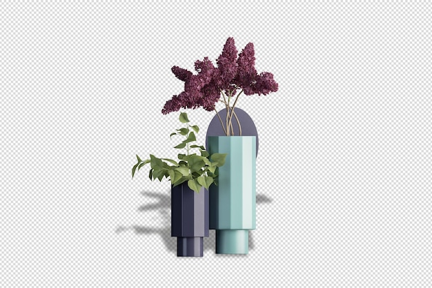 Fiori di ortensia nell'arredamento del vaso in rendering 3d