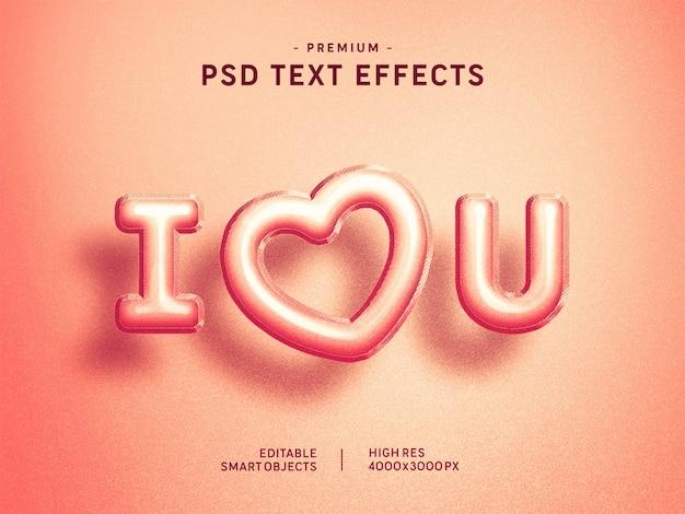 Ti amo rosa valentine balloon text effect sul rosa
