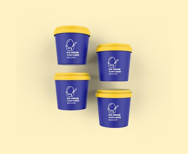 Mockup di contenitori per gelato