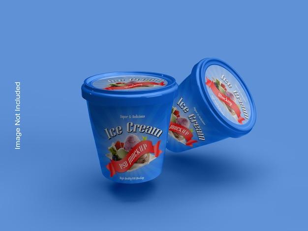 Mockup di confezione di coppe gelato o barattoli