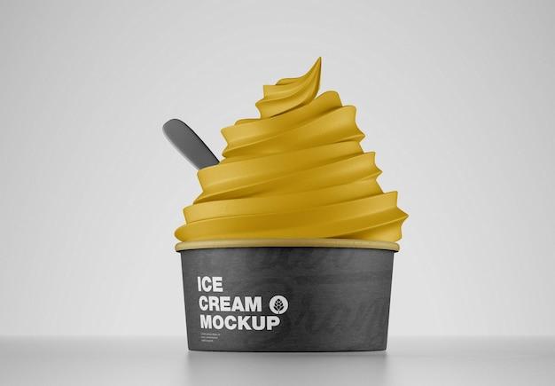 Mockup di coppa gelato con cucchiaio