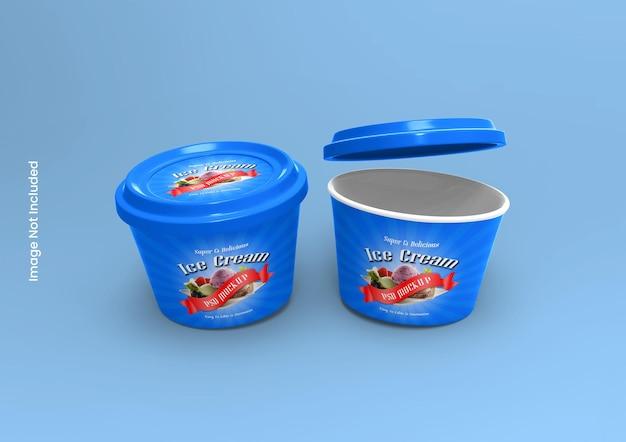 Barattolo di gelato o modello di imballaggio della tazza